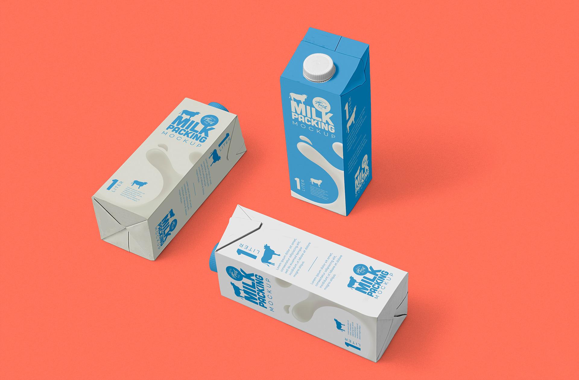 罐装牛奶盒包装设计样机模板 Milk Carton Mockup插图(2)