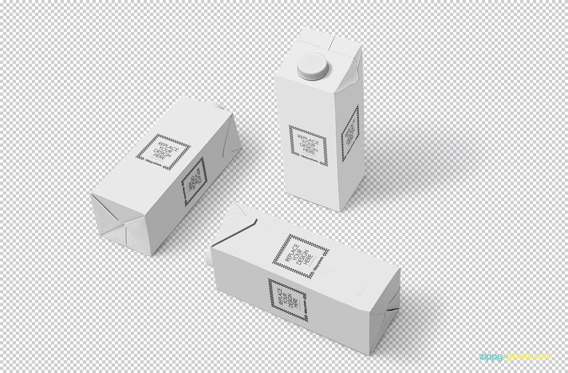 罐装牛奶盒包装设计样机模板 Milk Carton Mockup插图(1)